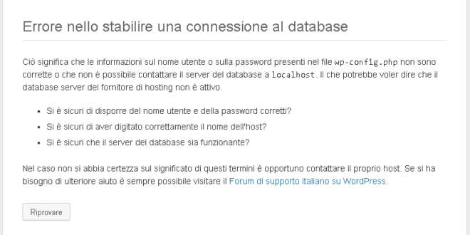 errore nello stabilire una connessione al database su wordpress